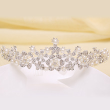 Factory direct 2015 spring new bride headdress flower mosaic pearl tiara crystal crown bridal hair accessories