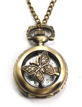 Coupon for wholesale buyer price good quality fashion lady quartz new bronze spinning butterfly pocket watch necklace with chain