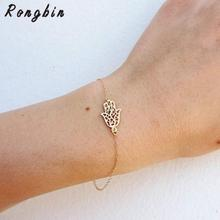 2017 New Simple Gold Chain Hamsa Bracelet For Women Fatima Hand Bracelet femme pulseras mujer Bijoux Jewelry(China)