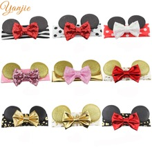 24Colors 1PC European Minnie Mouse Ears Infantile Elastic Headband New Infantile Girl DIY Hair Accessories 2017 Party Headwrap(China)
