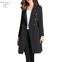 ElaCentelha Women Trench Coat Autumn Spring Double Breasted Long Sleeve Striped Outerwear Ladies Slim Waist Trench Coats(China)
