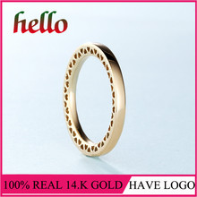 2017 Winter Collecion Classic Hearts 14k Solid Gold Ring Fine Jewelry For Girl Wedding Gift Classic Jewelry For Women(China)