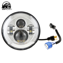 2PCS/SET 7 Inch 45w H4 H13 adapter Led Headlight High Low Beam projector for Jeep Wrangler Motorcycles 4x4 Offroad Vehicles(China)