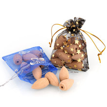 10pcs Backflow Incense Cones Natural Aroma Reflux Tower Incense in Beautiful Storage Bag Home Office Teahouse Tower Incense(China)
