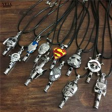 2016 Hot Sale Movie Star War Necklace Iron Man Hulk Thor Necklace Animation One Piece Necklace Fashion Whistle Necklace