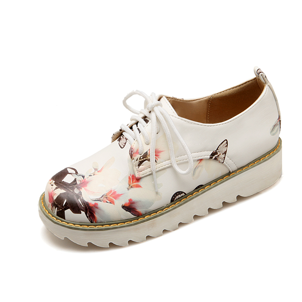 Retro Sweet style womens Casual shoes fashion printing leather Concise Floral Leisure shoes Lace-Up spring autumn Loafers shoes<br><br>Aliexpress