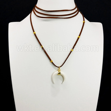 WT-N670 Hot Trending Wrap Leather Choker Necklace with bone horn pendant white pendant 140cm leather necklace gift pendant gift