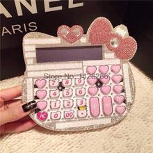2017 New 12 digit pink cute hello kitty calculator wholesale 17*18CM calculator no voice cute calculator(China)