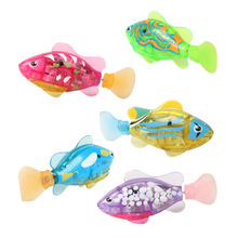1Pcs Mini Fun Fish Toy Led Light Activated Battery Powered Robot Fish Toys For Bathing Baby Bath Toys(China)