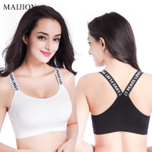 MAIJION Women Sexy Letters Straps Sports Bras ,Seamless Padded Gym Fitness Athletic Running Yoga Vest Bra Sport Tank Tops