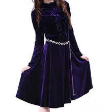 Buy Long Sleeve Women Velvet Dresses Elegant Autumn Winter Slim Fashion Casual Plus size 5 Colors Flouncing stand collar dress for $25.92 in AliExpress store