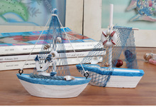 Mini sailing boat model Vogue Nautical home Decoration Cloth Sailboat Model Flag Table Ornament wood crafts toy for kids WYQ(China)