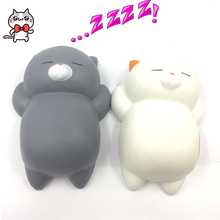 New Rare Jumbo 12CM Ushihito Cartoon Kawaii Squishy Bread Lazy Sleep Cat pussy Cell Phone Strap Sweet Scented Charm Kid Toy Gift