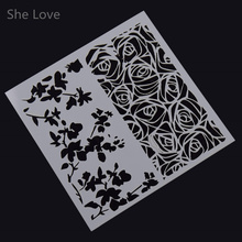 She Love Leaves Flower Masking Spray Painted Template Scrapbooking Card DIY Album Drawing Stencils Laser Cut(China)