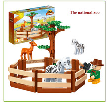136pcs BanBao New Creative DIY Building Bricks Toys for Children Educational Compatible Bricks National Zoo animal toy(China)