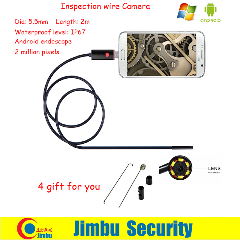 The Latest 5.5mm 6 LEDs Android Smartphone USB Endoscope IP67 Waterproof OTG Android Inspection Camera With 2M Cable Borescope<br><br>Aliexpress