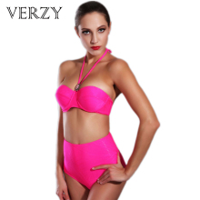 Geogous Women Bikini High waist Swimsuit Rose color Push Up bandeau Bikinis set Beach bathing suits Tube top Strapss swimwear(China)
