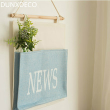 DUNXDECO 1PC Modern News Simple Linen Cotton Storage Pocket Hanging Home Office Storage Organiser Hanging Decoration Gift(China)