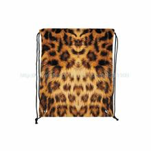 4Pcs/Lot Leopard fur Print Custom Individual Outdoor Beach Gym Swimming Clothing Shoes Towel Storage Bag Drawstring Backpack