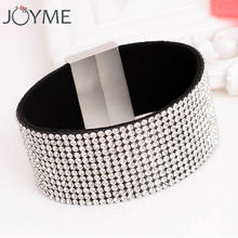 Crystal bracelet for women big wide full rhinestone leather bracelet pulseras mujer flannel wrap bracelet armbanden wristband