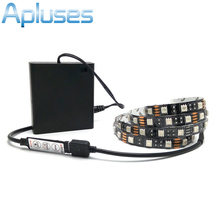 Battery LED Strip 5050 RGB Black PCB 5V IP20 / IP65 Waterproof Tape Lighting DIY Decorative Lamp With Battery Box/RGB Controller