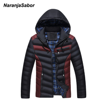 NaranjaSabor 2017 Winter Men's Thick Coat Warm Hooded Padded For Men Casual Jackets Male Overcoat Mens Coats Mens Brand Clothing