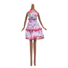 "Big Flower Print Short Dress for 9"" Dolls Fashon Pink Floral Party Dress Kids Toy Fashion Clothes Doll Accessories"