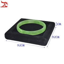 Square Wooden Jade Jewelry Display Bangle Case Bracelet Holder Tray Exhibitor Plate with Black Velvet(China)