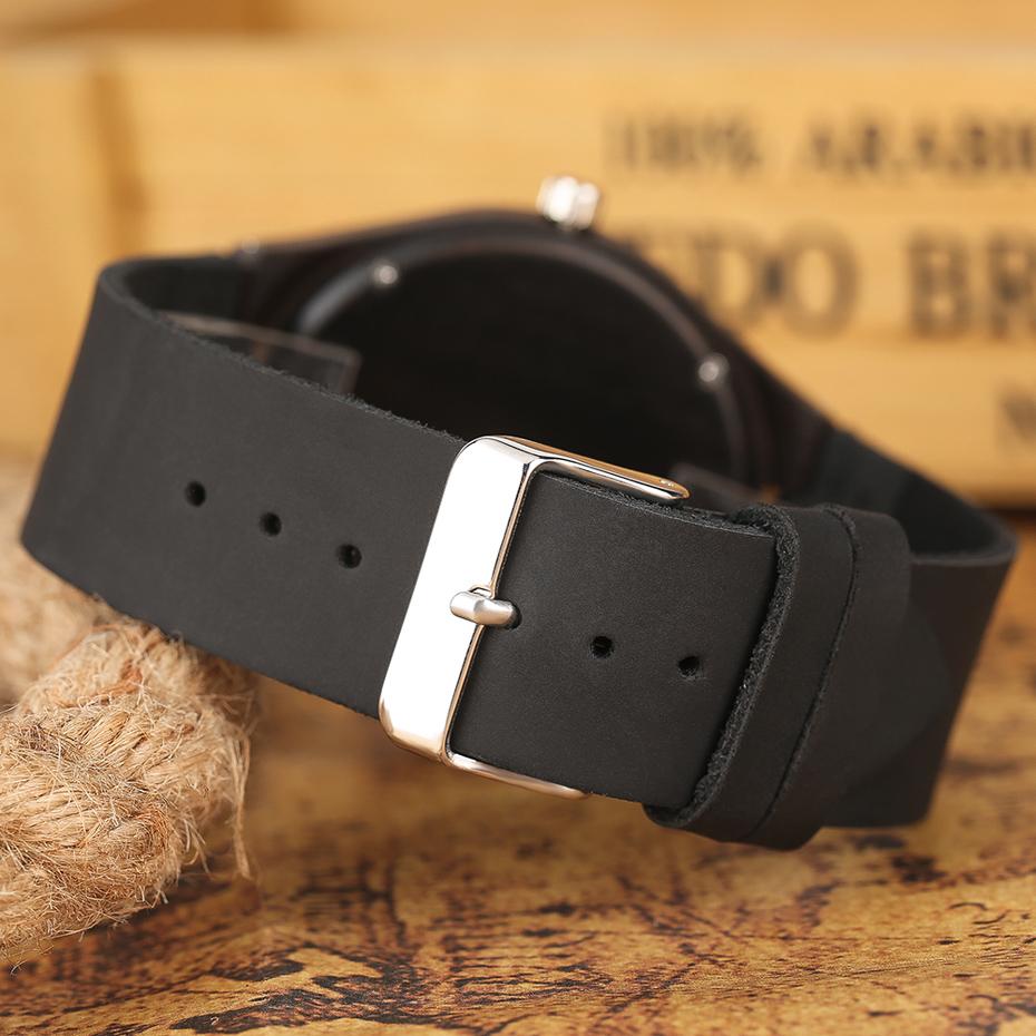 2017 Fashion Nature Ebony Wood Watch Mens World Map Handmade Black Quartz Wristwatch Minimalist Classic Bamboo erkek kol saati (10)