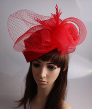 Fashion high quality sinamay red fascinator hats ladies crinoline headwear ocassion hair accessory cocktail headpiece TMYQ111(China)