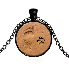 Fashion Women Necklace Sea Beach Footprint Dog Claw Pendant Necklaces For Ladies Sweater Chain Accessories Jewellery @M2