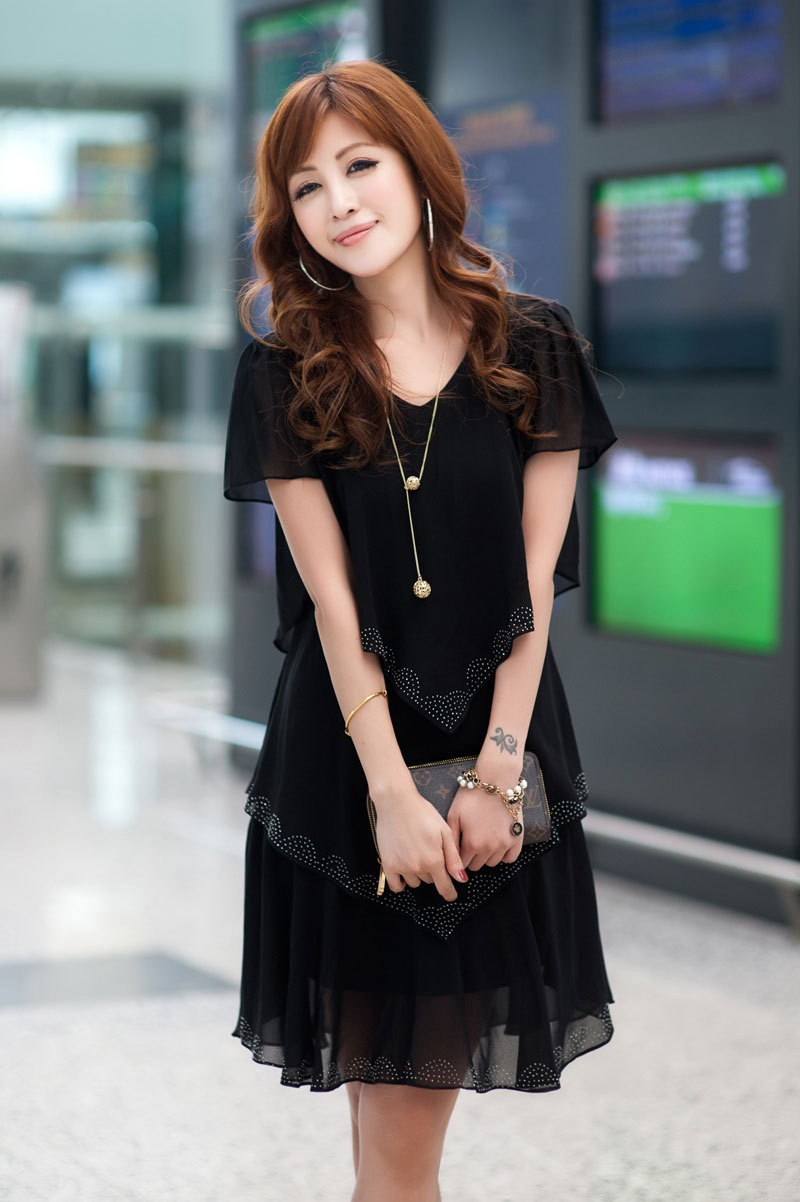 Vestido De Festa Summer Dresses 5XL Plus Size Women Clothing ropa mujer 18 Chiffon Dress Party Short Sleeve Casual Blue Black 3