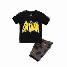 2017 New Summer Boys Clothes Set T-shirt Short 2pcs Children Clothing Set Casual Kids Suits for Toddler Batman Superman