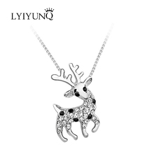 LYIYUNQ Lovely Girl`s Animal Party Jewelry Cute Style Fawn Rhinestone Pendant Necklace Crystal Necklaces & Pendants For Women(China)