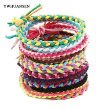YWHUANSEN 30pcs/lot Korean style women hair accessories Handmade Knitting elastic hair bands fluorescence color hair holder(China)