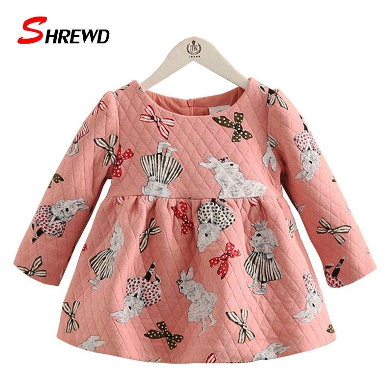 Little Girls Dresses 2017 Winter Fashion Cartoon Rabbit Toddler Girl Dresses  Long Sleeve Plus Velvet Kids Clothes Girls 4396Z<br><br>Aliexpress