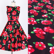 red flowers design vintage fabric Retro style fabric Calico Printed cotton fabric for DIY Bag 1 order=50cm*140cm(China)