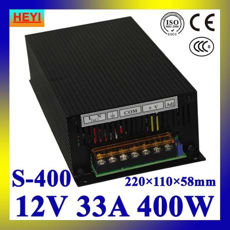 LED power supply  12V 33A 100~120V/200~240V AC input single output switching power supply 400W 12V transformer<br>