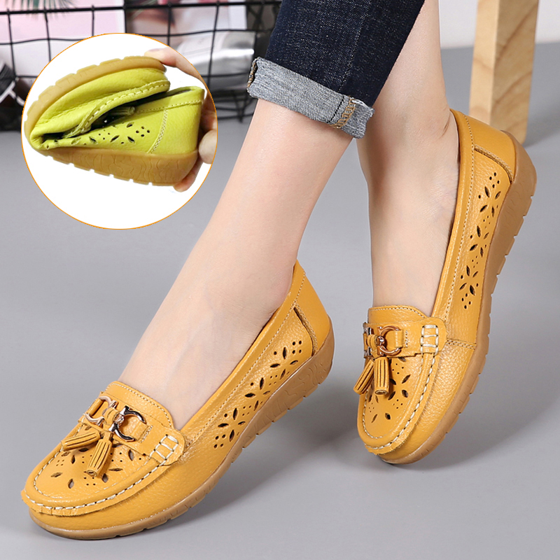 Women Shoes Flats Genuine Leather Slip On Shoes For Women Slipony Loafers Nurse Ballerina Tassel Platform Shoes Ladies Plus Size(China)