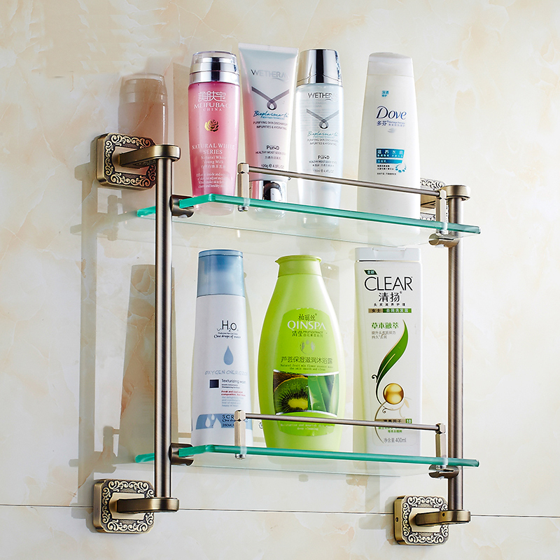 European Antique bathroom shelves towel racks, Bedroom dual tier Zinc-Alloy And Glass dresser shelf kitchen storage rack <br>