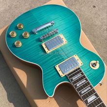 Wholesale custom store 1959 R9 tiger flame electric guitar, blue electric guitar standard LP 59 hot free shipping