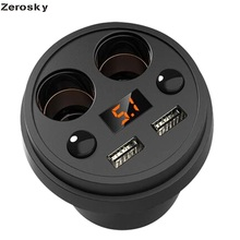 Zerosky Car Charger 5V 3.1A Fast Charger Voltage LED Display 2 Car Cigarette Lighter Dual USB Auto Car Charger Cup Holder