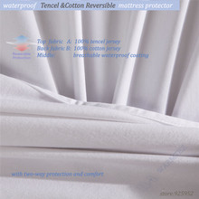 kids bed single size waterproof Reversible Tencel Cotton mattress protector healthy Tencel cotton fabric W005 A(China)