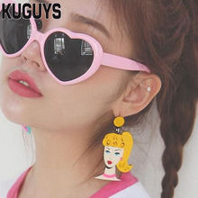 KUGUYS Acrylic Jewelry Custom Woman Head Large Dangle Earrings for Women Pendientes Fashion 2 Colors Letter Drop Earring Brincos(China)