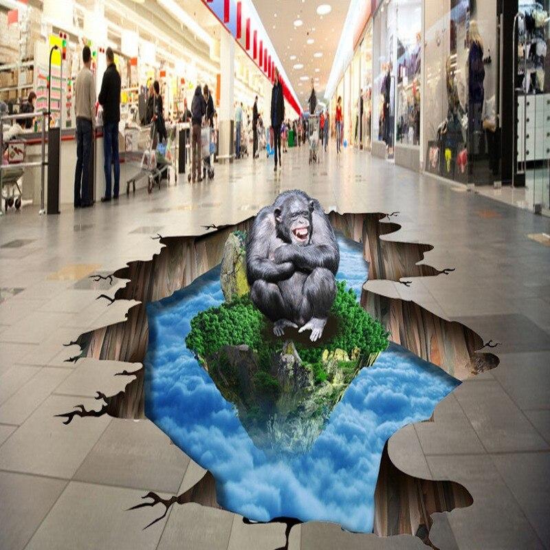Free Shipping custom 3D floor painting cloud orangutan moisture proof wear non-slip home decoration bathroom flooring wallpaper<br><br>Aliexpress