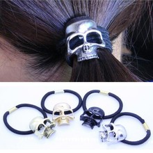 Fashion Punk Hair Tie Gothic Raven Skull Scrunchie Ponytail Elastic Hair Bands Women Hair Rope Metal Hair Accessories