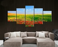 High Quality 5 Panel Canvas Art Design Wallpaper  Green Grassland Red Flower HD Paintings Frameless Landscape Picture Home Decor