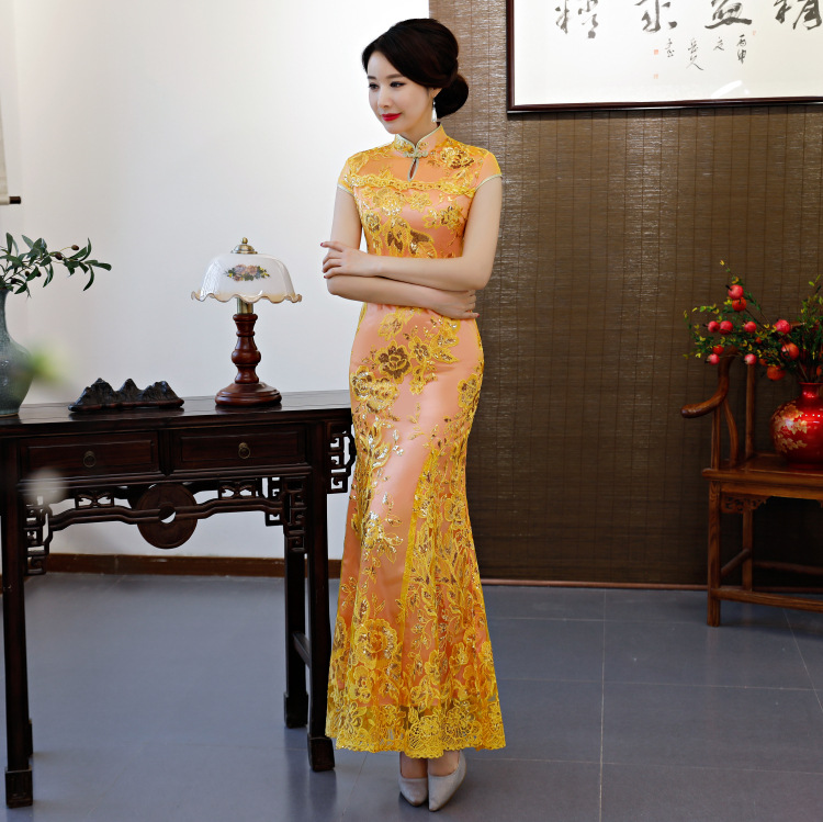 Orange Vintage Chinese Style Wedding Dress Retro Long Gown Marriage Cheongsam Qipao Party Evening Dress Vestidos Clothe S-4XL