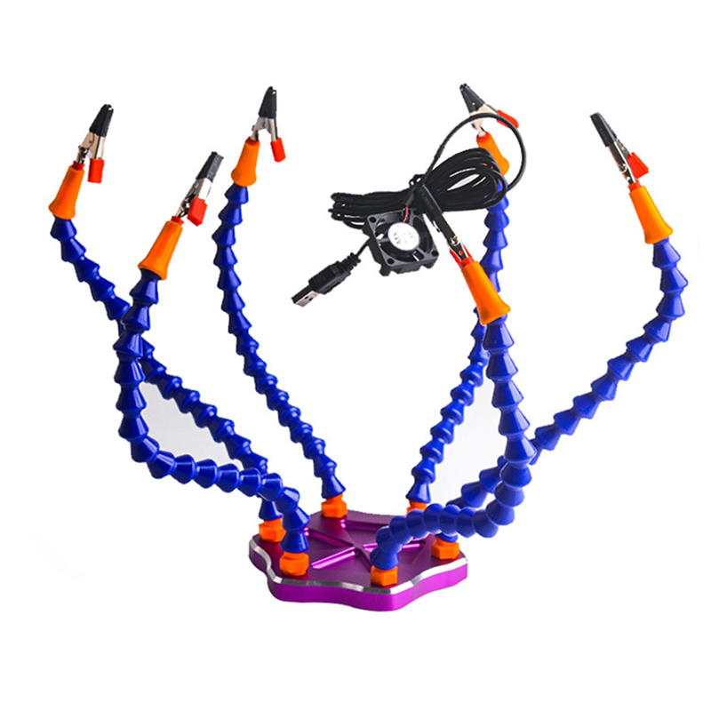 Third Hand Soldering Tool 6 Flexible Arms Six Arm Soldering Station With Swiveling Alligator Clip USB Fan for RC Drone<br>