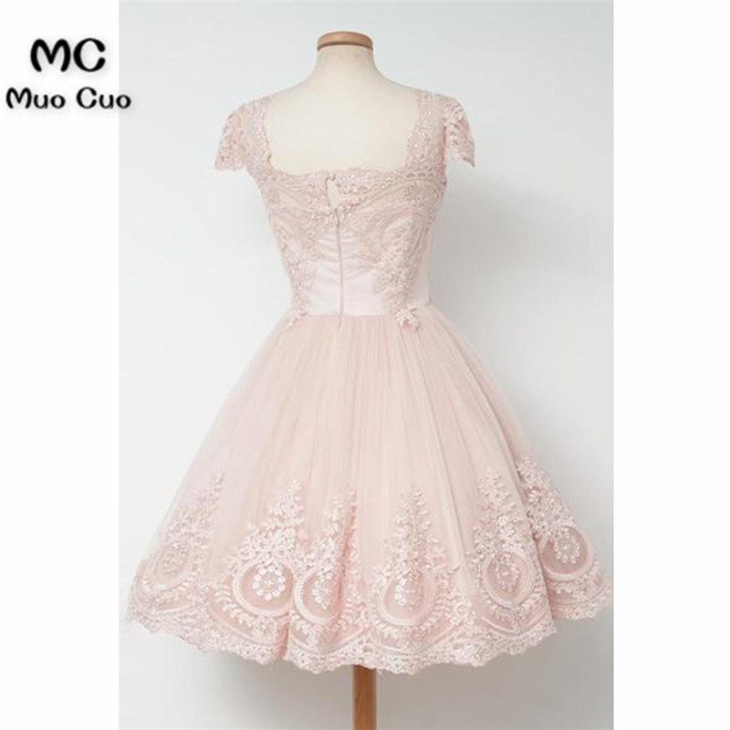 Vintage Knee-Length A-line Pearl Pink Homecoming Dress With Lace6